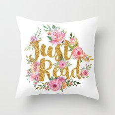 Just Read - Gold Foil v2 Throw Pillow