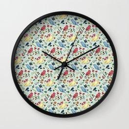 Pattern Birds Wall Clock