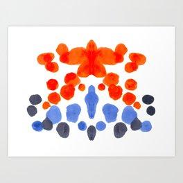 Rorschach Inkblot Diagram Psychology Abstract Symmetry Colorful Watercolor Art Blue Orange Complemen Art Print