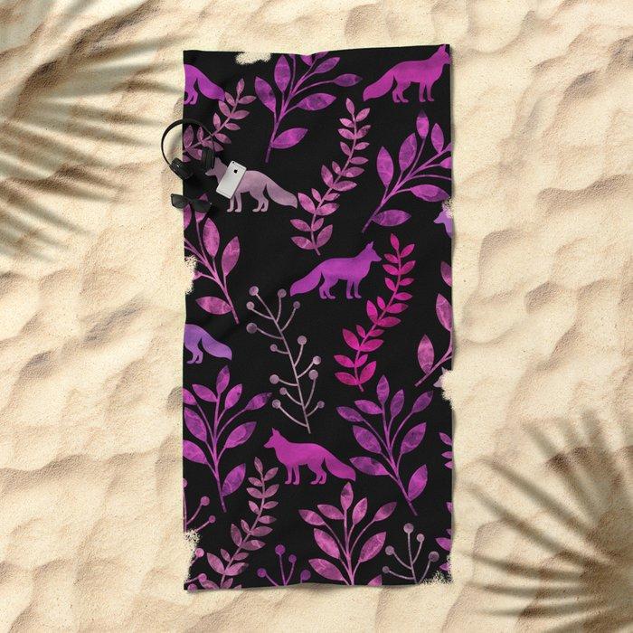 Watercolor Floral & Fox II Beach Towel