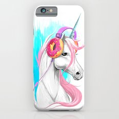 Unicorn in the headphones of donuts iPhone 6 Slim Case