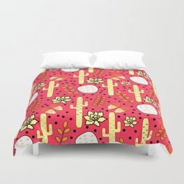 Cacti and butterflies in pink Duvet Cover