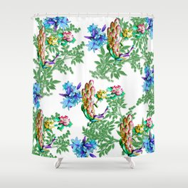 PEACOCK LILY ROSES TROPICAL BLOOM TOILE  PATTERN Shower Curtain