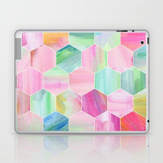 Pretty Pastel Hexagon Pattern in Oil Paint Laptop & iPad Skin