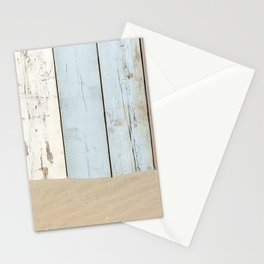 Sea Wood Plank And Sand Stationery Cards