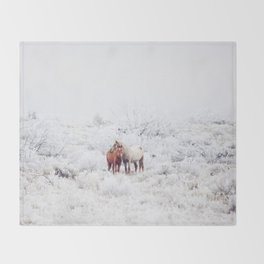 Two Winter Horses Throw Blanket