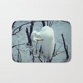 Great Egret in Water A108 Bath Mat