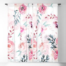 Pink Watercolor Florals I Blackout Curtain