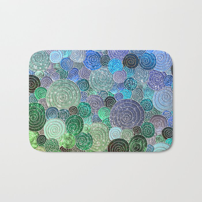 Abstract blue& green glamour glitter circles and polka dots for ladies Bath Mat