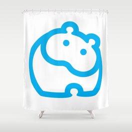 Blue hippo Shower Curtain