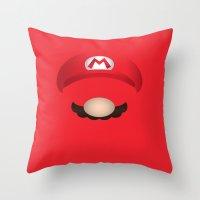 mario Throw Pillows featuring Mario by Aaron Macias