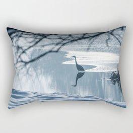 Grey heron frozen lake at winter. Winter lake scene. Rectangular Pillow