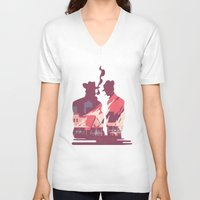 western V-neck T-shirts featuring Western by kanakiki