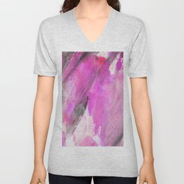 Artistic purple pink black watercolor painting brushstrokes Unisex V-Neck
