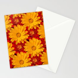 A Medley of Red and Yellow Marigolds Stationery Cards