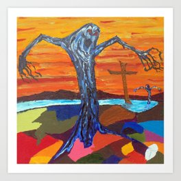 Screaming Tree (oil sketch for 'The Screaming Trees' painting) Art Print