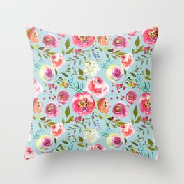 pink and blue watercolor peonies Throw Pillow