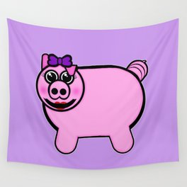 Girly Stuffed Pig Wall Tapestry