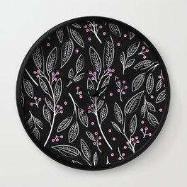 Flora Black 005 Wall Clock