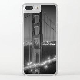 Evening Cityscape of Golden Gate Bridge | Monochrome Clear iPhone Case
