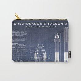 NASA SpaceX Crew Dragon Spacecraft & Falcon 9 Rocket Blueprint in High Resolution (dark blue) Carry-All Pouch