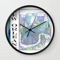 new orleans Wall Clocks featuring New Orleans by Catherine Holcombe