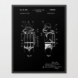 Jacques Cousteau Diving Gear Patent - Black Canvas Print