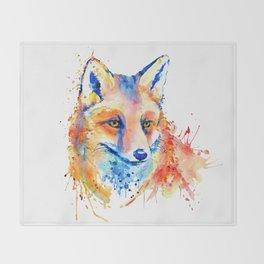 Cute Fox Head Throw Blanket