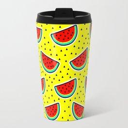 Watermelon on yellow Travel Mug