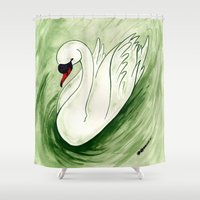 swan Shower Curtains featuring Swan by JoJo Seames