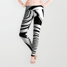 Black White Circles Optical Illusion Leggings