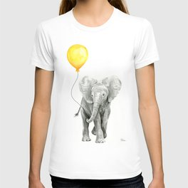 Elephant Watercolor Yellow Balloon Whimsical Baby Animals T-shirt