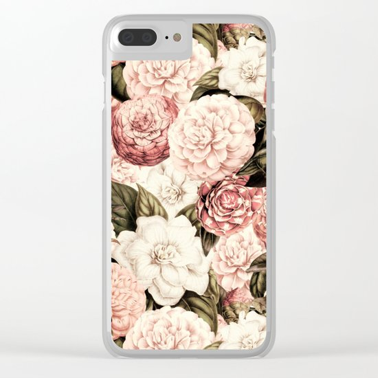 Vintage & Shabby floral camellia flowers watercolor pattern Clear iPhone Case