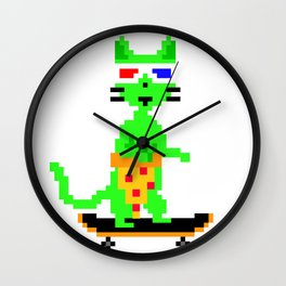 """Psychedelic Skateboarding Pixel Pizza Cat"", by Brock Springstead Wall Clock"