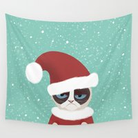 grumpy Wall Tapestries featuring Grumpy holidays by My Studio