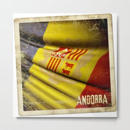 Grunge sticker of Andorra flag Metal Print