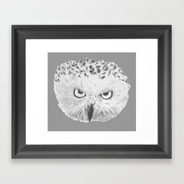 Snowy Owl Grey Framed Art Print