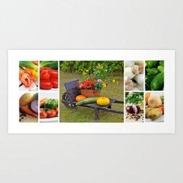 Garden Vegetable Collage - Kitchen or Restaurant Decor Art Print