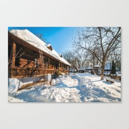 Fairy Tale Winter View at the Village Museum in Bucharest Canvas Print
