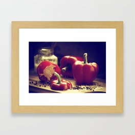 Fresh red peppers in retro still life Framed Art Print