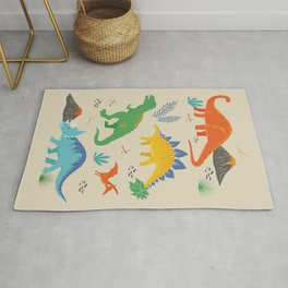 Jurassic Dinosaurs in Primary Colors Rug