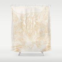 kitten Shower Curtains featuring kitten by Marina Kuchenbecker