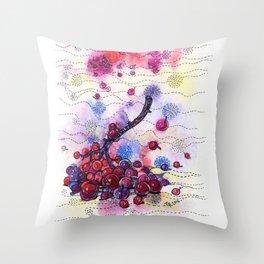 Wnter Berries Throw Pillow