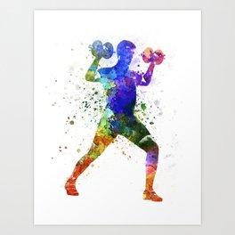 Man exercising weight training Art Print