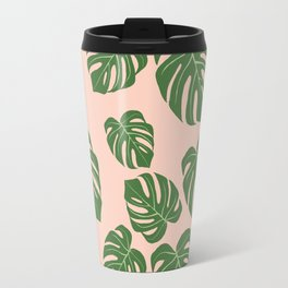 Monstera with pink background Travel Mug
