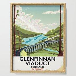Glenfinnan Viaduct Scotland Rail poster Serving Tray