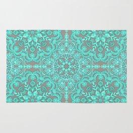 Mint Green & Grey Folk Art Pattern Rug