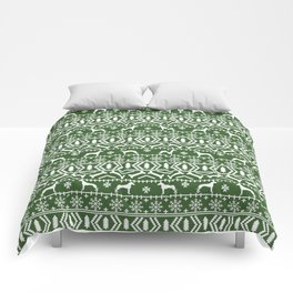 Great Dane fair isle christmas holiday green and white minimal pattern gifts for dog lover Comforters