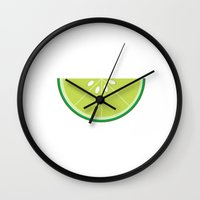 lime Wall Clocks featuring Lime by KatieKatherine