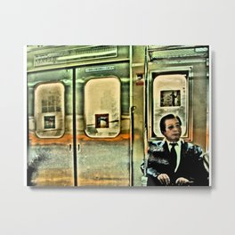 Tokyo Salary Man on a Train. Metal Print
